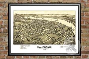 Old Map of California, PA from 1902 - Vintage Pennsylvania Art, Historic Decor