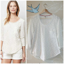 Anthropologie One September Laceveiled Ivory Lace Front Pullover Boho Knit Top S