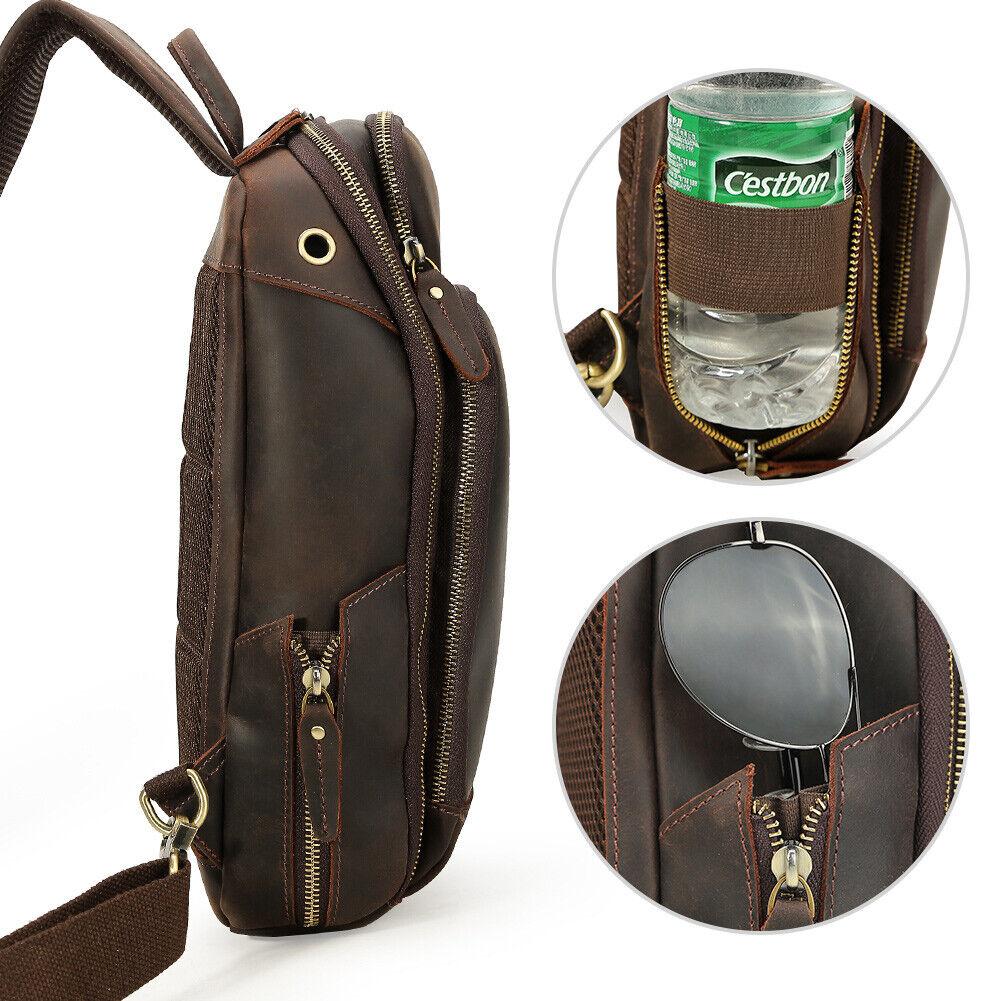 Retro Men Leder Sling Sling Sling Brust Tasche Schultertasche w USB Interface+Kopfhörer Loch   Erschwinglich  2bf75b