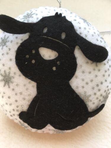 BLACK DOG Sitting TREE CHRISTMAS BAUBLE Handmade HANGING DECORATION White