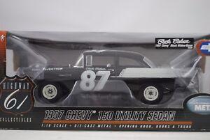 01:18 Autoroute 61 # 50293 1957 Chevy 150 Utilité Berline Noir Veuve Buck Baker # 87 $