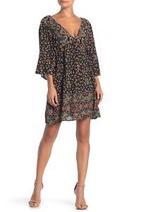 NWT-Angie-Black-Floral-Kimono-Bell-Flutter-Sleeve-Midi-Shift-Dress-Boho-S-M-L