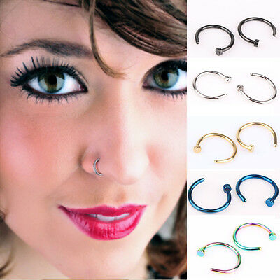 Mini Thin Surgical Steel Open Nose Hoop Ring Piercing Stud Body