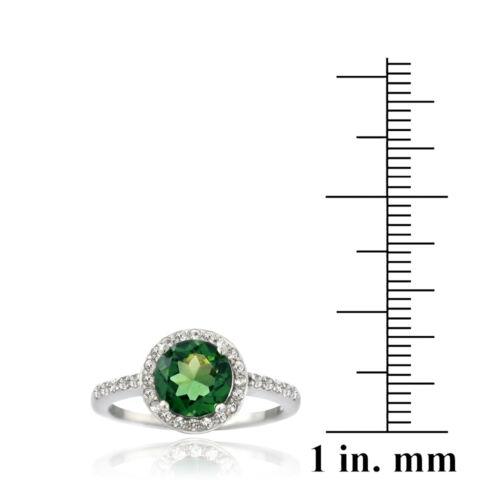 925 Argent 2.5 Ct Créé Vert Quartz /& White Sapphire Round Ring