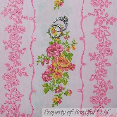 BonEful Fabric FQ Cotton Quilt VTG Pink Yellow Rose Flower Small Old Shabby Chic