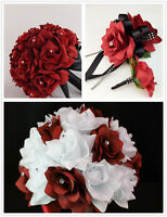 2 Bouquet,4 Boutonniere,2 Wrist Corsages-apple Red Black Wedding Silk Flowers