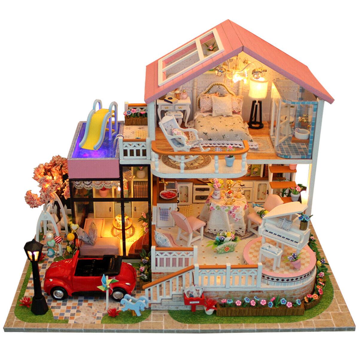 DIY Wooden Dolls House Handcraft Miniature Project Kit LED Pink Villa