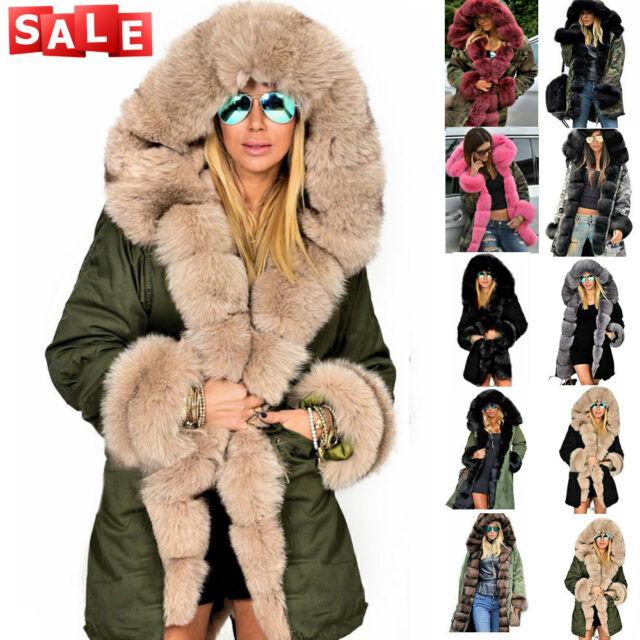 af76f6ab6 ROIII LADIES HOODED PARKA FAUX FUR WINTER WARM WOMEN CASUAL LONG JACKET  COAT TOP