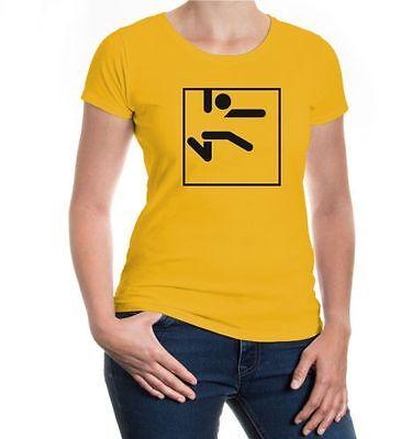 Damen Kurzarm Girlie T-shirt Weitsprung-piktogramm Leichtathletik
