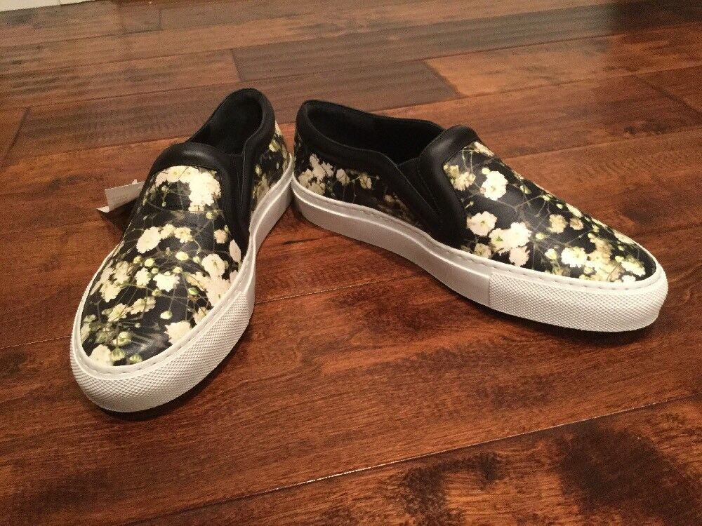Givenchy Black Floral Leather Slip-On Sneakers, Size 35 (EU) 5 (US)