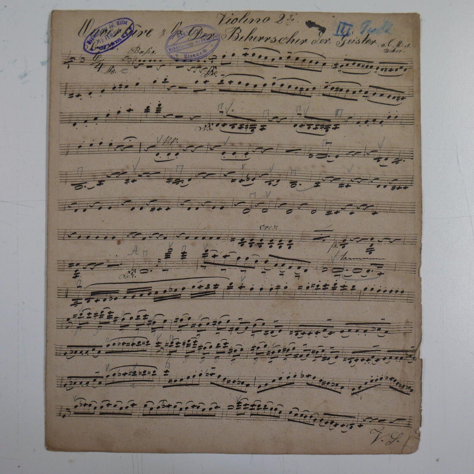 C M v WEBER DER BEHERRSCHER DER GEISTER violin 2 part , antiq music manuscript