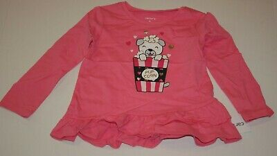 New Carter/'s Girls 2T 3T 4T 5T Unicorn Ruffle Hem Bow Back Top Shirt Pink