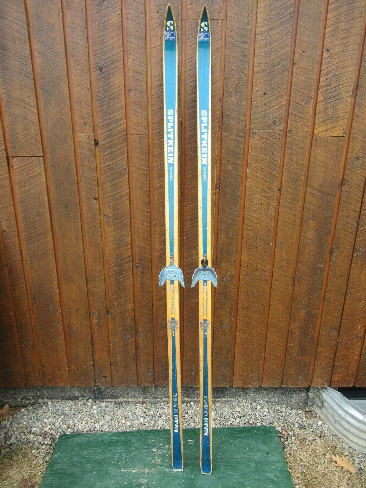 VINTAGE  Wooden 78  Skis BLOND & blueE Finish  + Bindings VERY NICE SET    for wholesale