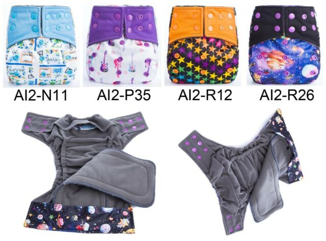Resuable Bamboo Charcoal Cloth Diaper Ai2 Baby Cloth Double Gusset