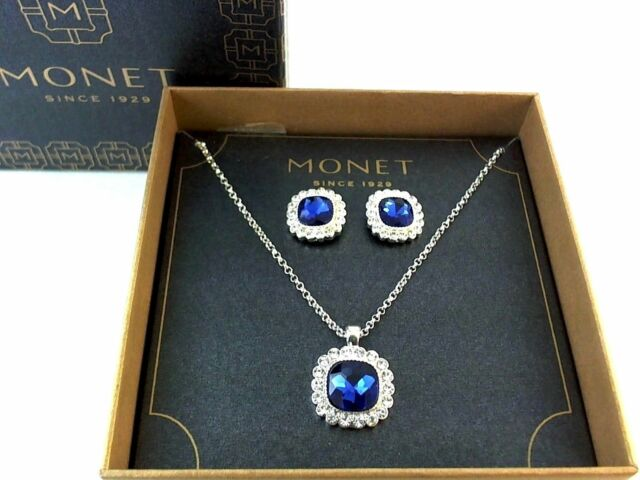 Monet Womens Necklace Button Stud Earrings Set W Simulated
