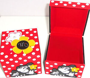 Disney Minnie Mouse Jewelry Box Kids Red Black Polka Dots Theme