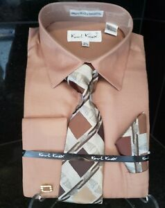 Hankie and Cuff Links  NWT  4440 Karl Knox Taupe Dress Shirt With Matching Tie