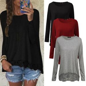 Damen-Bluse-T-Shirts-Top-Langarm-Shirt-Casual-Herbst-Oberteil-Blusen-Hemd-Tunika
