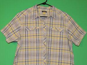 Cabela-039-s-Womens-Size-XL-Extra-Large-Plaid-Pocket-Short-Slv-Button-Shirt
