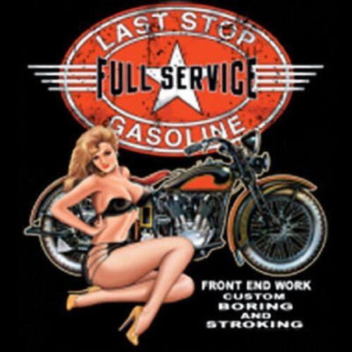 Last Stop Full Service Gas Station Biker Motorcycle Girl Pocket Tee T Shirt