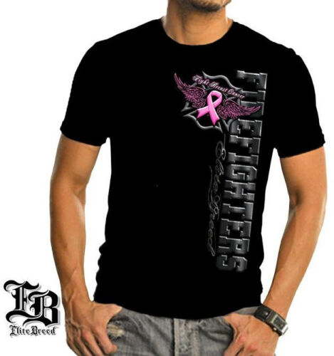 Firefighter/'s Breast Cancer Awareness Elite Breed Black T-Shirt 100/% Cotton