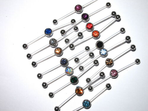 PTFE 2 Way Double Piercing Gem Belly Navel Bar 16 colours cut to size