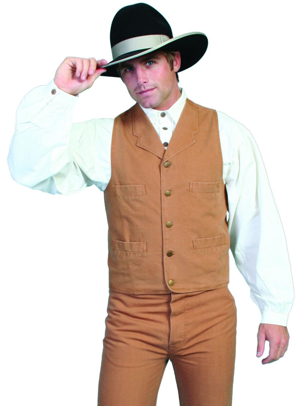 Rw041nat Scully Rangewear Mens Rangewear Frontier Canvas Vest