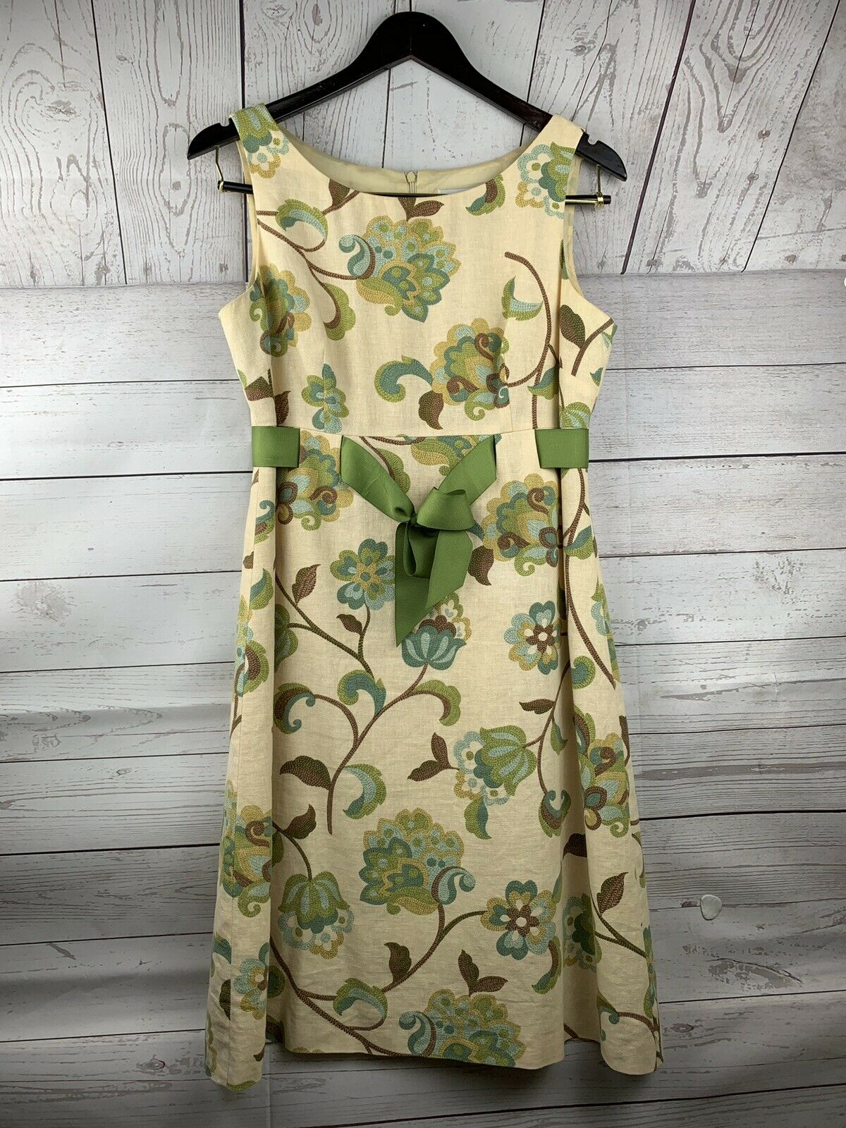 Jessica Howard Tan floral Linen Blend Size 6 Ribbon Tie Belt Sleeveless Lined