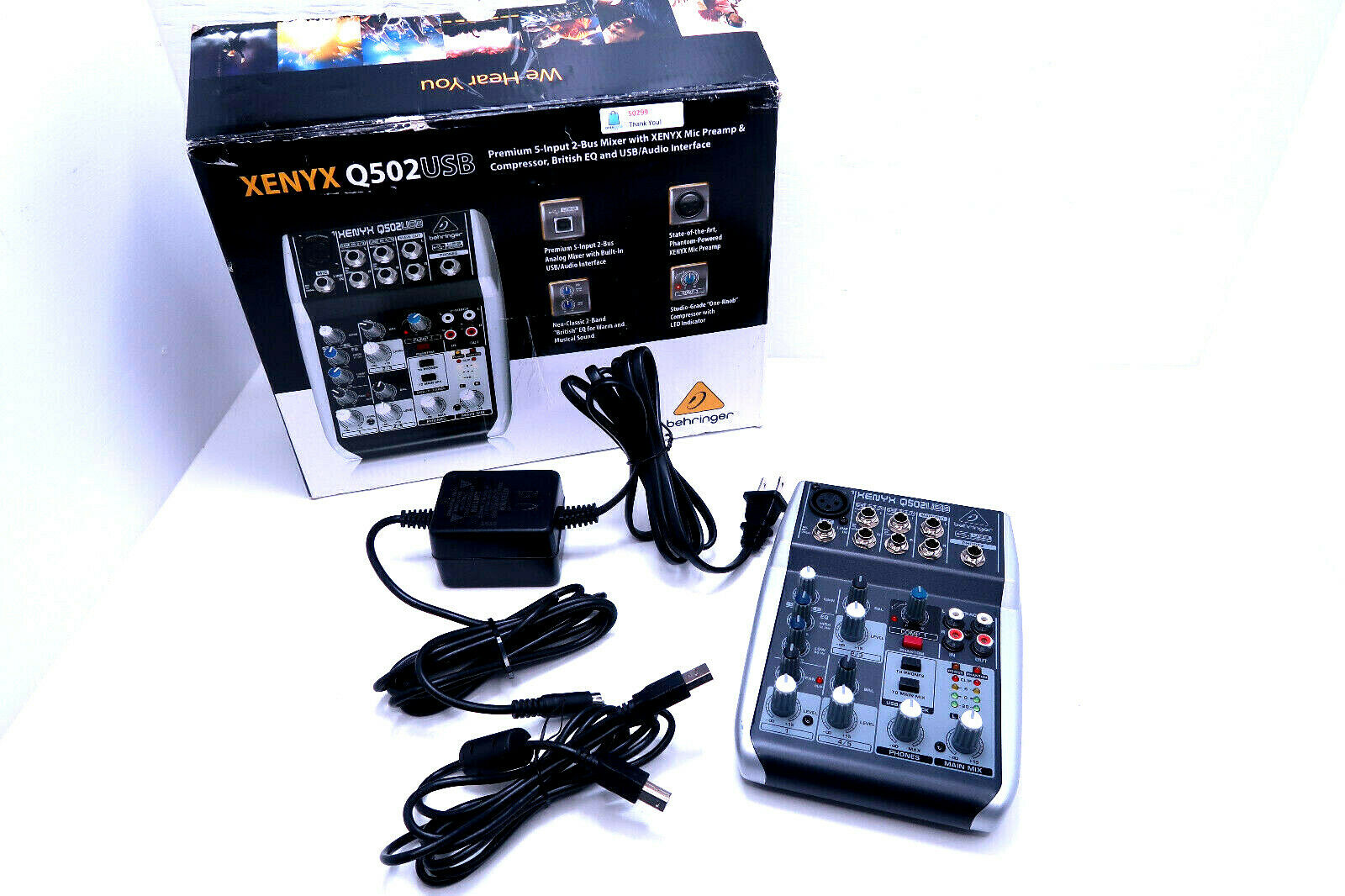 Behringer Xenyx Q502USB 5-Input 2-Bus Mixer Board w/ Power Supply & USB Cable. Buy it now for 115.89