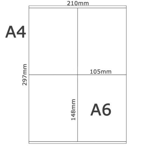 50x A4 4x A6 Auto Adhésif étiquettes Blanc Papier Blanc Jet D/'encre//Imprimantes laser