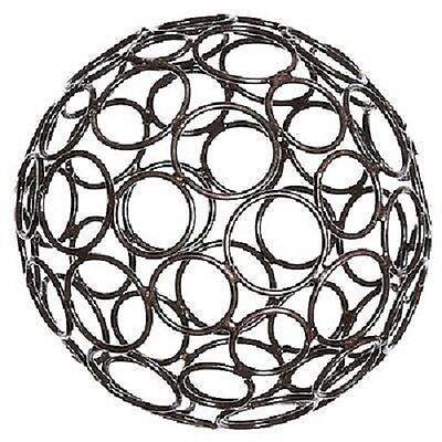 METALL ORNAMENTKUGEL 20 cm Kugel Drahtball Drahtkugel Dekokugel  RING BRAUN