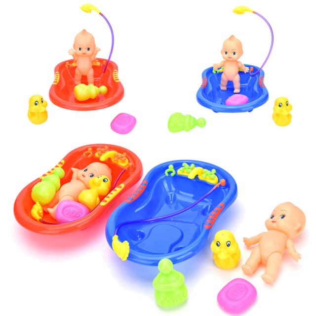 5x Baby Doll in Bath Tub with Duck + Shower Accessories Kid Pretend Play Toy  BB
