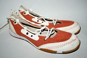Isa-Dora-Sport-Women-039-s-Leather-Canvas-Flat-Shoes-Lace-Terracotta-Red-White-UK5-5