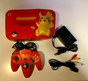 Nintendo-Pikachu-Game-Console-64-Orange-Controller-Cords-Japanese