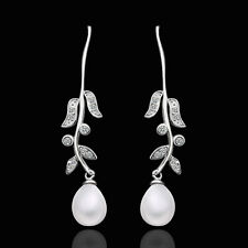 18K White Gold Pearl Stone Zirconia Fish Hook Bali Threader Earrings L139