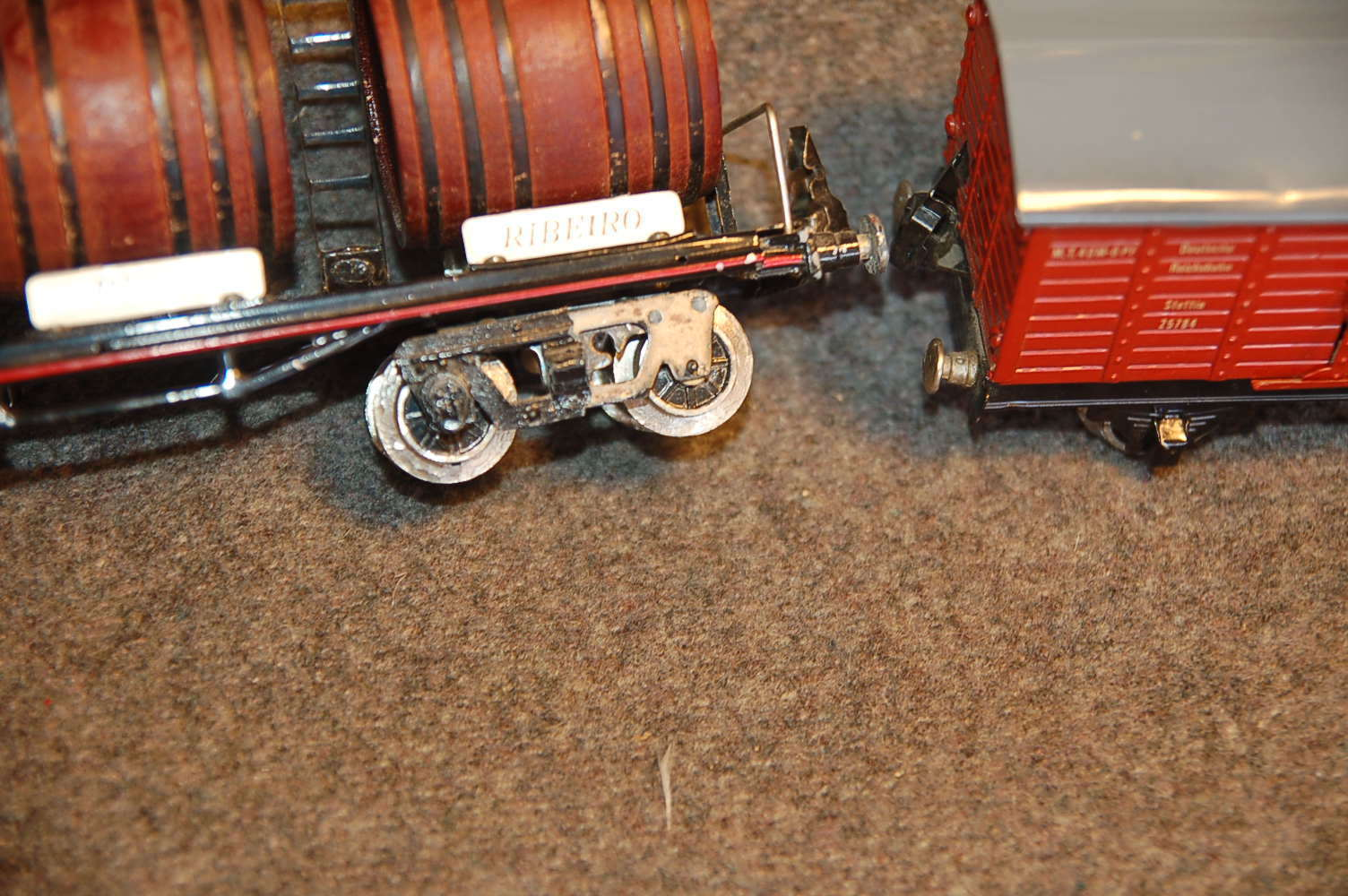 2 Paya O Gauge freight or train cars wagons , appear quite old