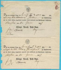 Postscheine-Preussen-Einlieferungsbescheinigungen-des-koenigl-Preuss-Postamtes