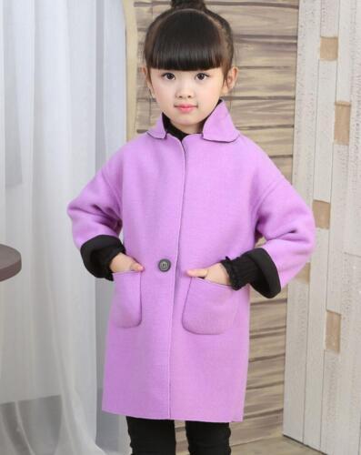 Kids Boys Girls Warm Winter Wool Trench Coat Suit Collar Long Jacket School Coat
