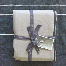 West Elm Linen Cotton twin Duvet Cover only  khaki with slate trim
