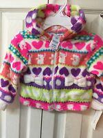 Girls Jacket 12 Months Infant Fleece Multi Color Hood Hearts Cats Bows