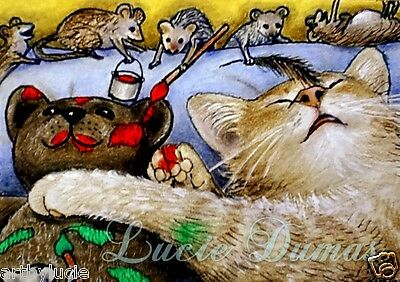 ACEO LE art print Cat 157 mouse from funny original painting by L.Dumas