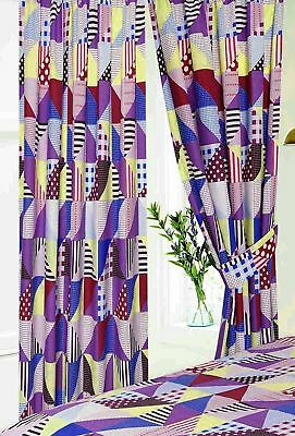 """FOOTBALL SOCCER NUMBERS GEOMETRIC RED 66/""""X72/"""" 168CX183CM PENCIL PLEAT CURTAINS"""