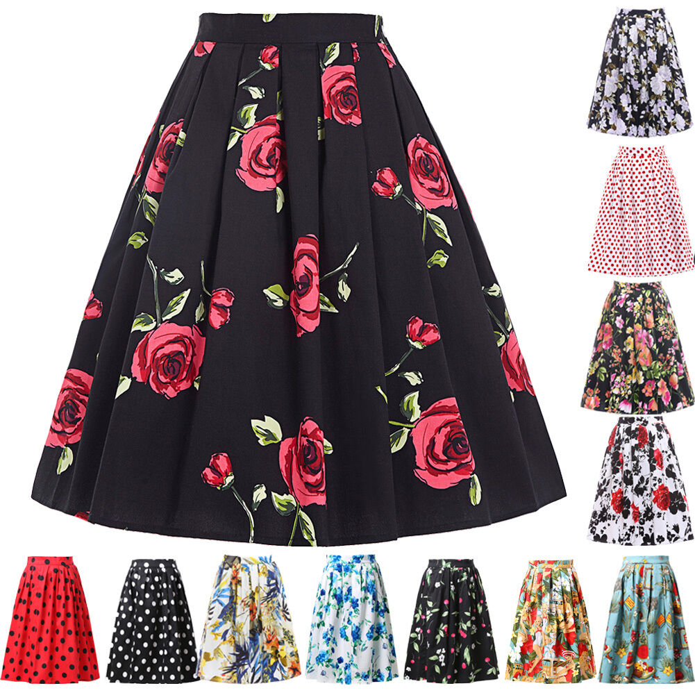 Retro Vintage Housewife Floral Pinup Swing Party Swing Skirt Dress Cocktail Gown
