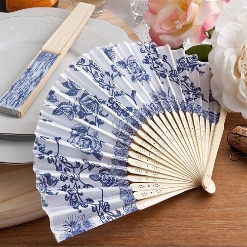 100 Elegant French Country Silk Fans Wedding Bridal Baby Shower Party Favors