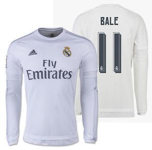 Détails sur Adidas Gareth Bale Real Madrid Manches Longues Maillot Domicile 201516