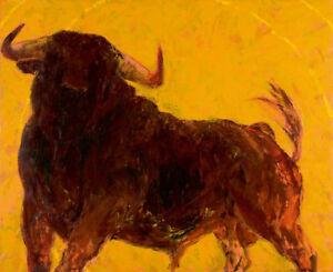 Leinwand-auf-Keilrahmen-EL-CASTANO-Monica-Rotgans-Bild-Stier-limitiert-signiert