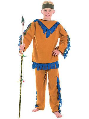 KIDS ROSSO INDIANO NATIVO AMERICANO CORAGGIOSO Western Ragazzi Costume Età 3-10