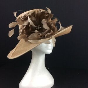 Ladies Hat Box Hat Light Coffee Beige With Silver Thread Throughout (183)