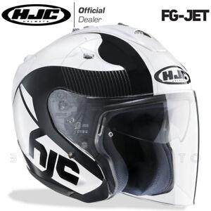 CASCO-IN-FIBRA-MOTO-SCOOTER-HJC-FG-JET-FGJET-ACADIA-MC5-BIANCO-NERO-LUCIDO