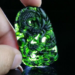 Chinese-Natural-Black-Green-Jade-Pendant-Hand-Carved-Lucky-Amulet-Gifts-Dragon